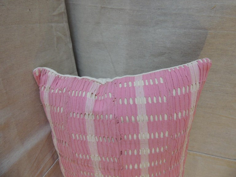 Vintage Yoruba lace weave hot pink African bolster decorative pillow with soft grey color cotton backing. Decorative pillow handcrafted and designed in the USA. Closure by stitch (no zipper closure) with custom made pillow insert. Size: 15