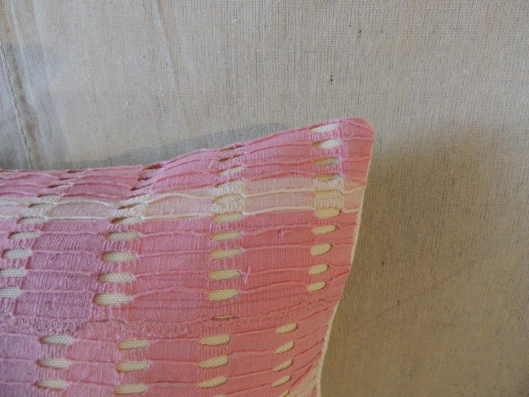 Tribal Vintage Yoruba Lace Weave Hot Pink African Bolster Decorative Pillow For Sale
