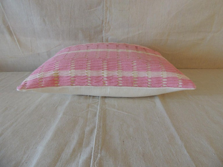 Ghanaian Vintage Yoruba Lace Weave Hot Pink African Bolster Decorative Pillow For Sale