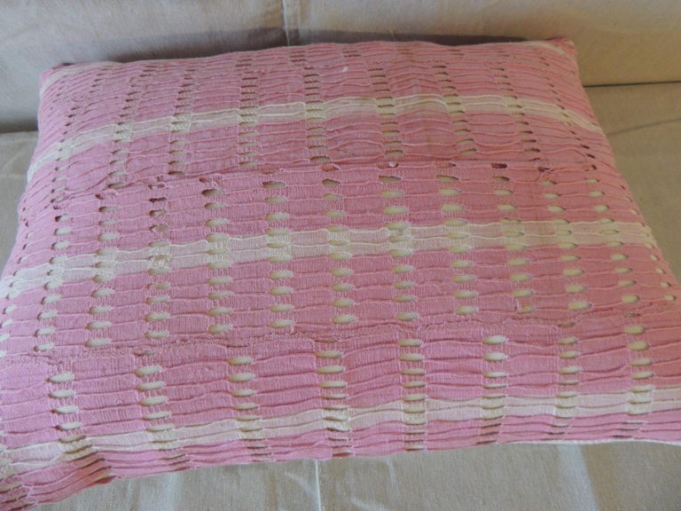 Hand-Crafted Vintage Yoruba Lace Weave Hot Pink African Bolster Decorative Pillow For Sale