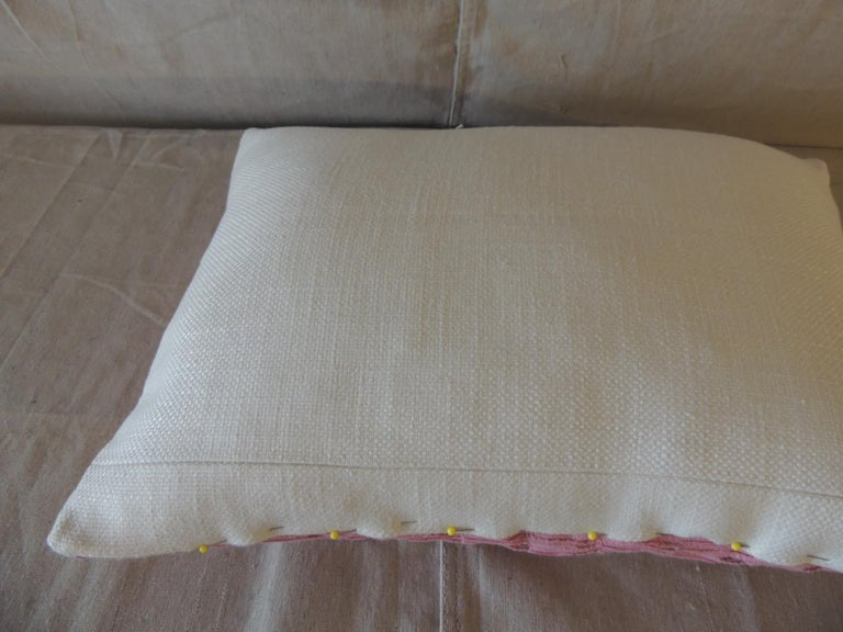 Vintage Yoruba Lace Weave Hot Pink African Bolster Decorative Pillow For Sale 1