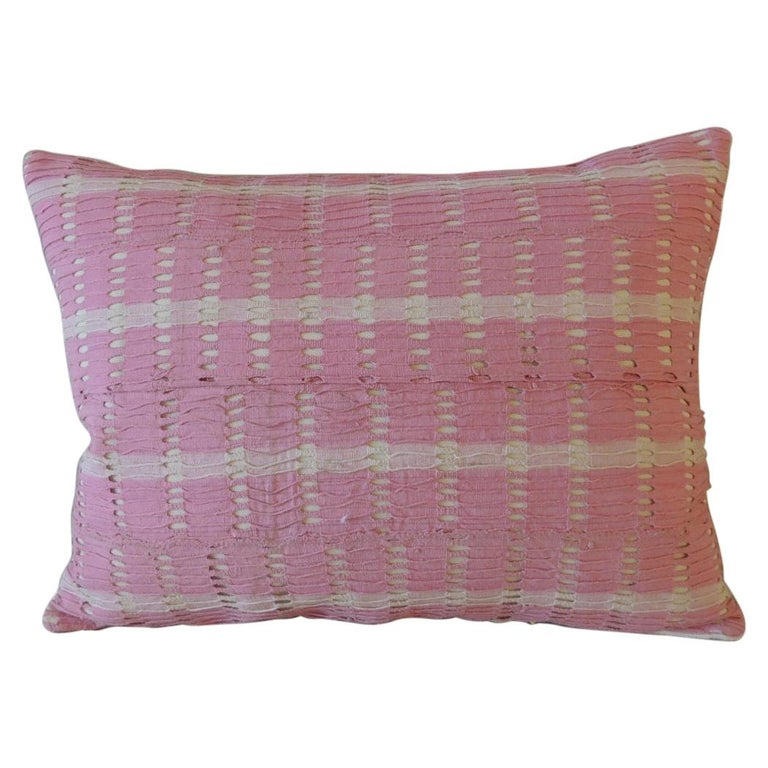 Vintage Yoruba Lace Weave Hot Pink African Bolster Decorative Pillow For Sale