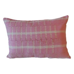 Vintage Yoruba Lace Weave Hot Pink African Bolster Decorative Pillow