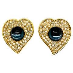Vintage Ysl Crystal Blue Cabochon Heart Earrings 1980s