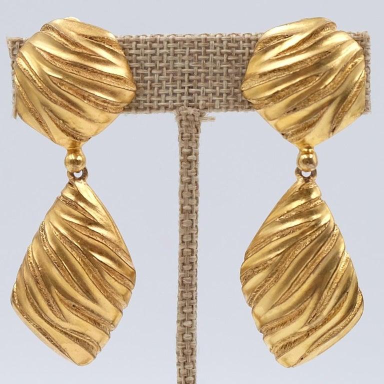 Women's or Men's Vintage YSL Geometry Clip-on Earrings 1980s For Sale
