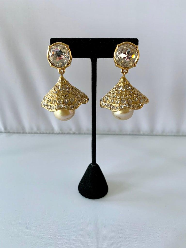 Artisan Vintage YSL Gilt Diamante Pearl Flower Statement Earrings  For Sale