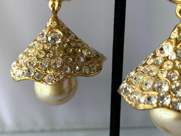 Bead Vintage YSL Gilt Diamante Pearl Flower Statement Earrings  For Sale