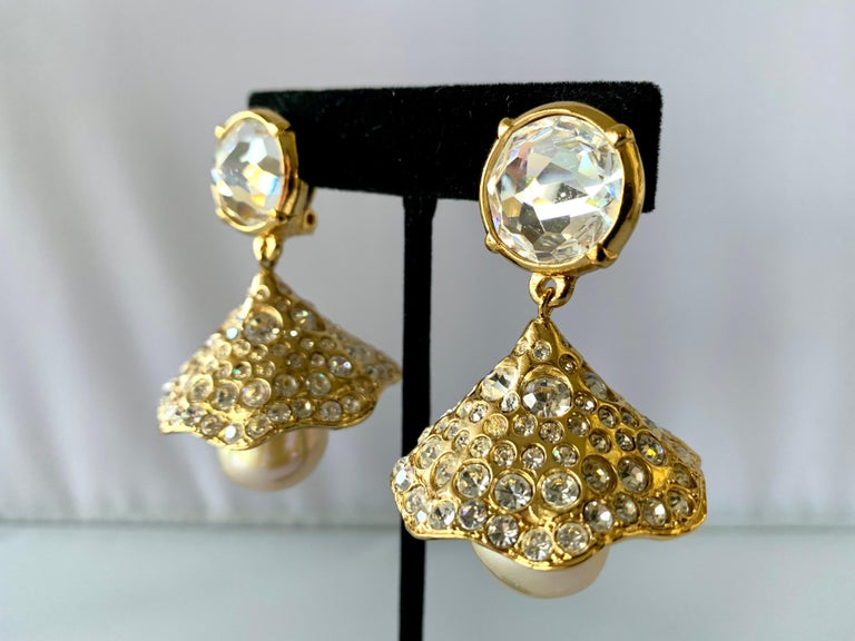 Vintage YSL Gilt Diamante Pearl Flower Statement Earrings  In Excellent Condition For Sale In Palm Springs, CA