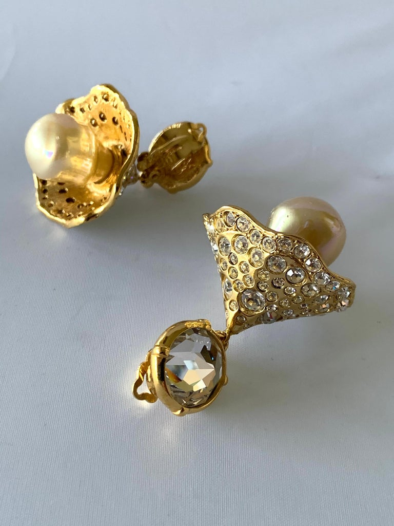 Women's Vintage YSL Gilt Diamante Pearl Flower Statement Earrings  For Sale