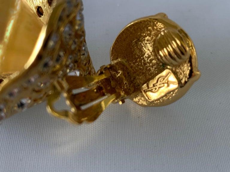 Vintage YSL Gilt Diamante Pearl Flower Statement Earrings  For Sale 1