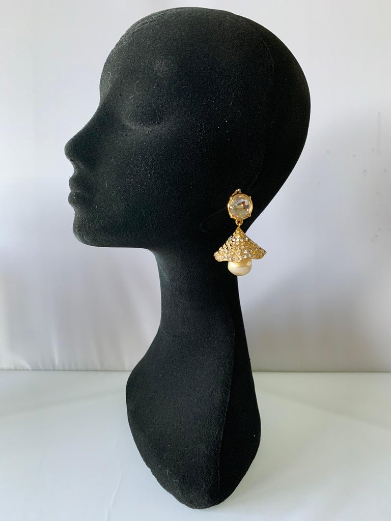 Vintage YSL Gilt Diamante Pearl Flower Statement Earrings  For Sale 2