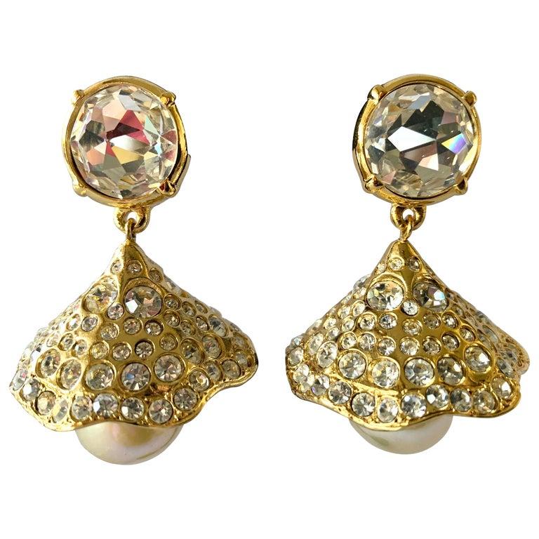 Vintage YSL Gilt Diamante Pearl Flower Statement Earrings  For Sale