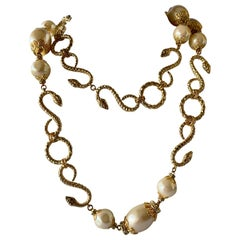 Vintage YSL Gilt Snake, Diamante, and Pearl Sautoir Necklace