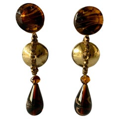 Vintage YSL Gold and Bronze Swirl Statement Earrings