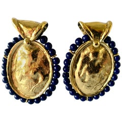 Vintage YSL Hammered Gold Lapis Statement Earrings