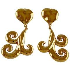 Vintage YSL Yves Saint Laurent Arabesque Heart Stylized Dangling Earrings