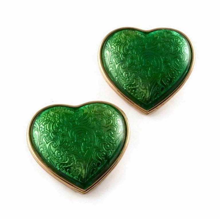 Vintage YSL Yves Saint Laurent Baroque Enamel Heart Massive Earrings  Measurements: Height: 2 inches (5.08 cm) Width: 2 1/8 inches (5.39 cm)  Features: - 100% Authentic YVES SAINT LAURENT. - Massive heart in green enamel with Baroque pattern