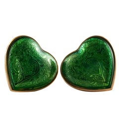 Vintage YSL Yves Saint Laurent Baroque Enamel Heart Massive Earrings