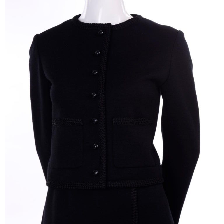Vintage YSL Yves Saint Laurent Black Wool Skirt Suit w/ Boxy Jacket & Braid Trim For Sale 7