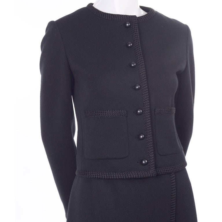 Vintage YSL Yves Saint Laurent Black Wool Skirt Suit w/ Boxy Jacket & Braid Trim For Sale 9
