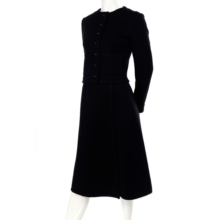 Vintage YSL Yves Saint Laurent Black Wool Skirt Suit w/ Boxy Jacket & Braid Trim In Excellent Condition For Sale In Portland, OR