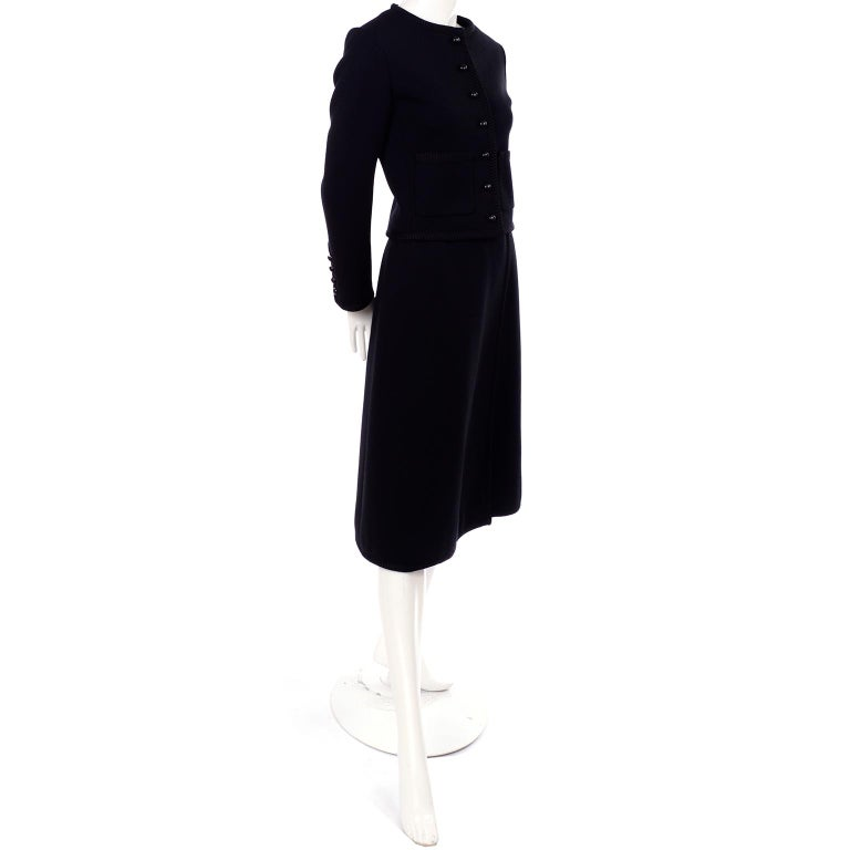 Vintage YSL Yves Saint Laurent Black Wool Skirt Suit w/ Boxy Jacket & Braid Trim For Sale 2