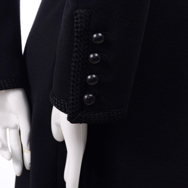 Vintage YSL Yves Saint Laurent Black Wool Skirt Suit w/ Boxy Jacket & Braid Trim For Sale 3