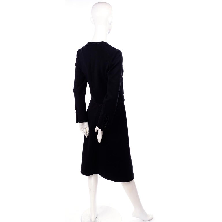 Vintage YSL Yves Saint Laurent Black Wool Skirt Suit w/ Boxy Jacket & Braid Trim For Sale 4
