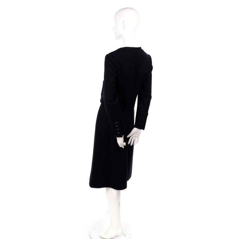 Vintage YSL Yves Saint Laurent Black Wool Skirt Suit w/ Boxy Jacket & Braid Trim For Sale 5