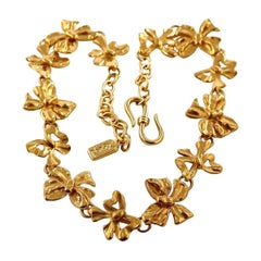 Vintage YSL Yves Saint Laurent Bow Ribbon Link Necklace