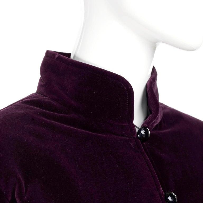 Vintage YSL Yves Saint Laurent Burgundy Red Velvet Suit Outfit w/ Skirt & Jacket For Sale 5