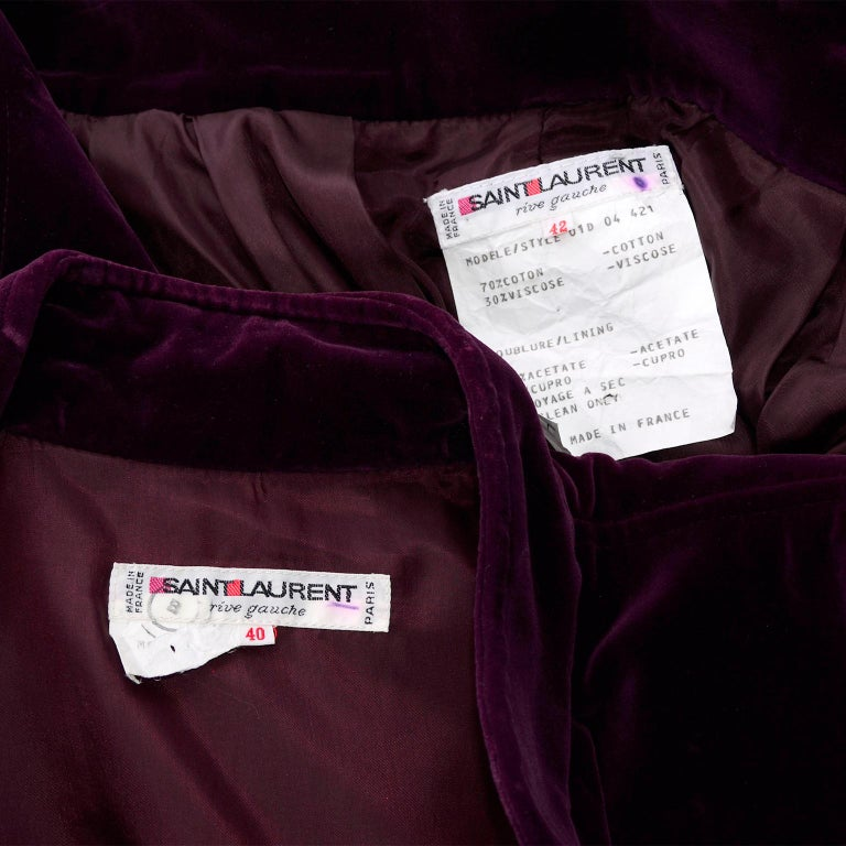 Vintage YSL Yves Saint Laurent Burgundy Red Velvet Suit Outfit w/ Skirt & Jacket For Sale 6