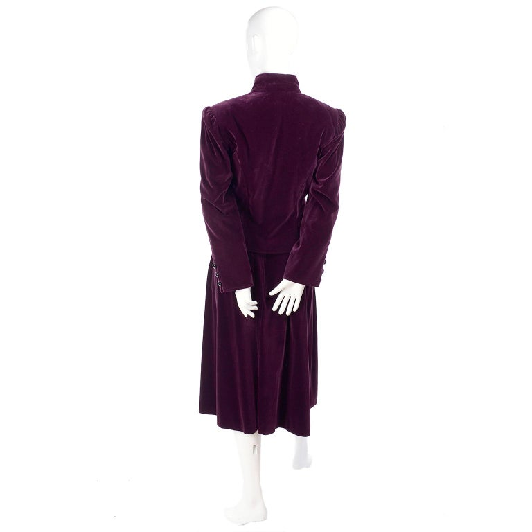 Vintage YSL Yves Saint Laurent Burgundy Red Velvet Suit Outfit w/ Skirt & Jacket In Excellent Condition For Sale In Portland, OR