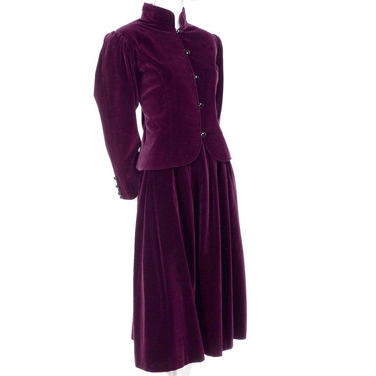 Women's Vintage YSL Yves Saint Laurent Burgundy Red Velvet Suit Outfit w/ Skirt & Jacket For Sale