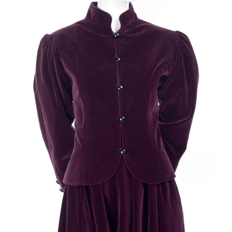 Vintage YSL Yves Saint Laurent Burgundy Red Velvet Suit Outfit w/ Skirt & Jacket For Sale 1