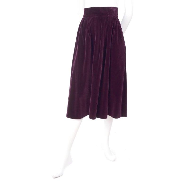 Vintage YSL Yves Saint Laurent Burgundy Red Velvet Suit Outfit w/ Skirt & Jacket For Sale 2