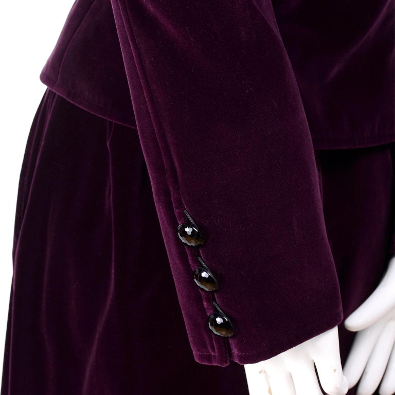 Vintage YSL Yves Saint Laurent Burgundy Red Velvet Suit Outfit w/ Skirt & Jacket For Sale 3