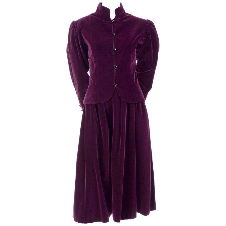 Vintage YSL Yves Saint Laurent Burgundy Red Velvet Suit Outfit w/ Skirt & Jacket For Sale