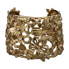 Vintage YSL Yves Saint Laurent Butterfly Rhinestone Openwork Bracelet Cuff