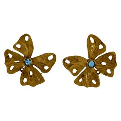 Vintage YSL Yves Saint Laurent by Robert Goossens Butterfly Rhinestone Earrings