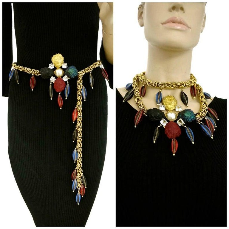 Vintage YSL Yves Saint Laurent by Robert Goossens Shell Flower Wooden Charm Necklace Belt  Measurements: Height: 3.75 inches (9.6 cm) Charms: 1.6 inches (4 cm) Length: 39.37 inches (100 cm) end to end