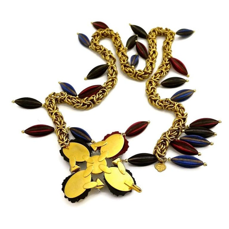 Vintage YSL Yves Saint Laurent by Robert Goossens Flower Charm Necklace Belt For Sale 4