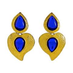 Vintage YSL Yves Saint Laurent by Robert Goossens Heart Blue Cabochon Earrings