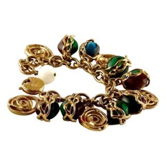 Vintage YSL Yves Saint Laurent by Robert Goossens Multicolor Charm Bracelet