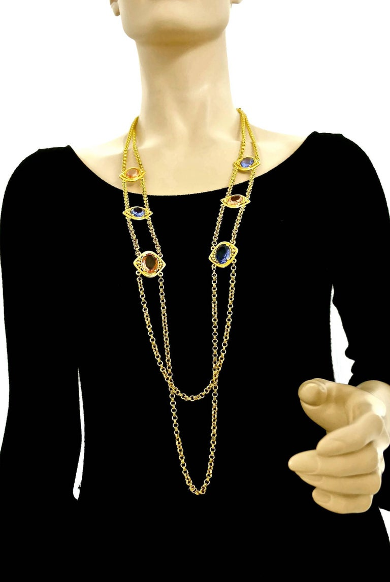 Vintage YSL Yves Saint Laurent Coloured Glass Stones Multi Layer Chain Long Necklace  Measurement: Height: 1.06 inches (2.7 cm) Width: 0.98 inch (2.5 cm) Length: 38.19 inches (97 cm)  Features: - 100% Authentic YVES SAINT LAURENT. - 2 Layer chain