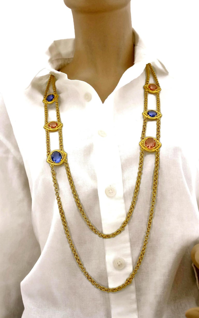 Vintage YSL Yves Saint Laurent Coloured Glass Stones Multi Layer Chain Long Neck In Excellent Condition For Sale In Kingersheim, Alsace