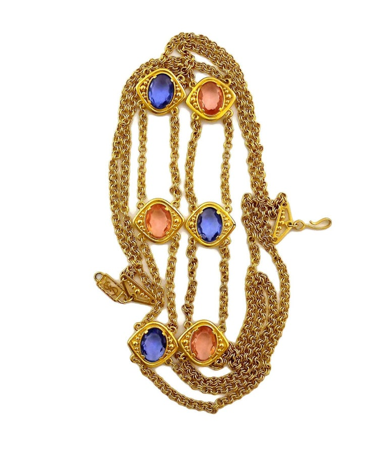 Women's Vintage YSL Yves Saint Laurent Coloured Glass Stones Multi Layer Chain Long Neck For Sale