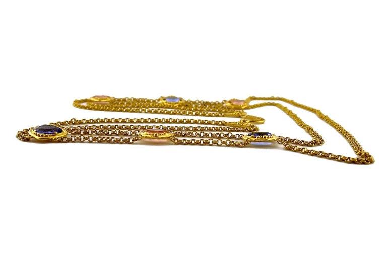 Vintage YSL Yves Saint Laurent Coloured Glass Stones Multi Layer Chain Long Neck For Sale 2