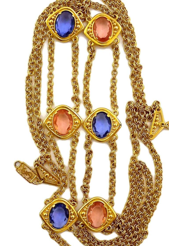 Vintage YSL Yves Saint Laurent Coloured Glass Stones Multi Layer Chain Long Neck For Sale 3