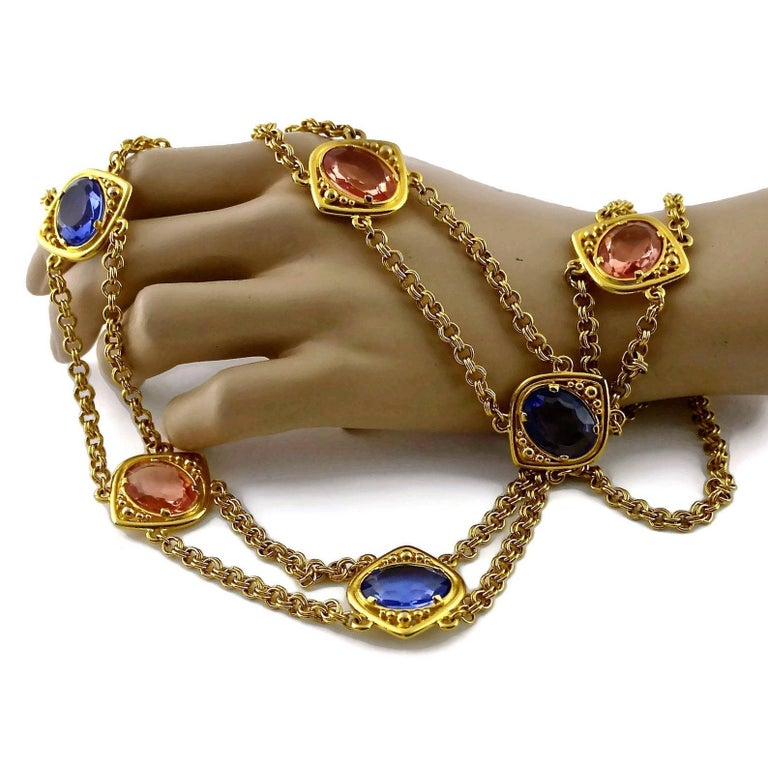 Vintage YSL Yves Saint Laurent Coloured Glass Stones Multi Layer Chain Long Neck For Sale 4